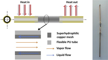 Flexible heat pipes with integrated bioinspired design