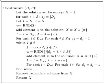 Heuristic algorithm for solving the integer programming of