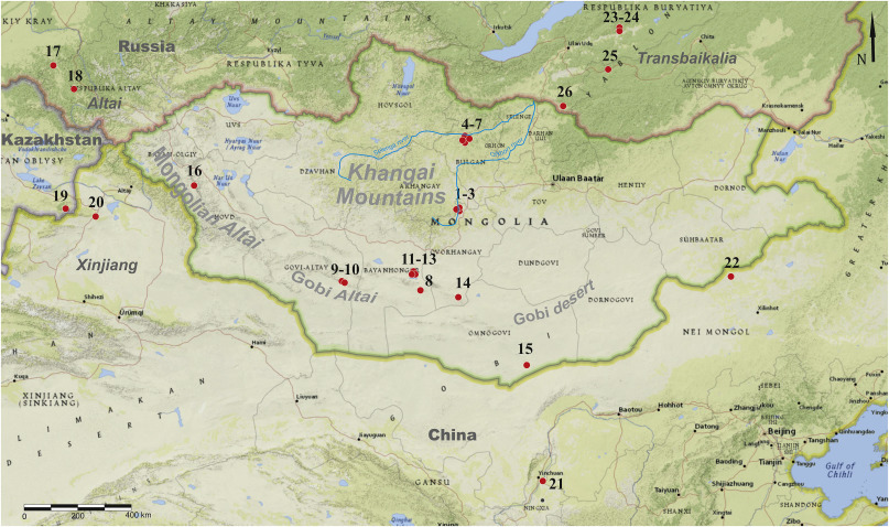 Map Of Upper Asia.Middle And Upper Paleolithic Levallois Technology In Eastern Central