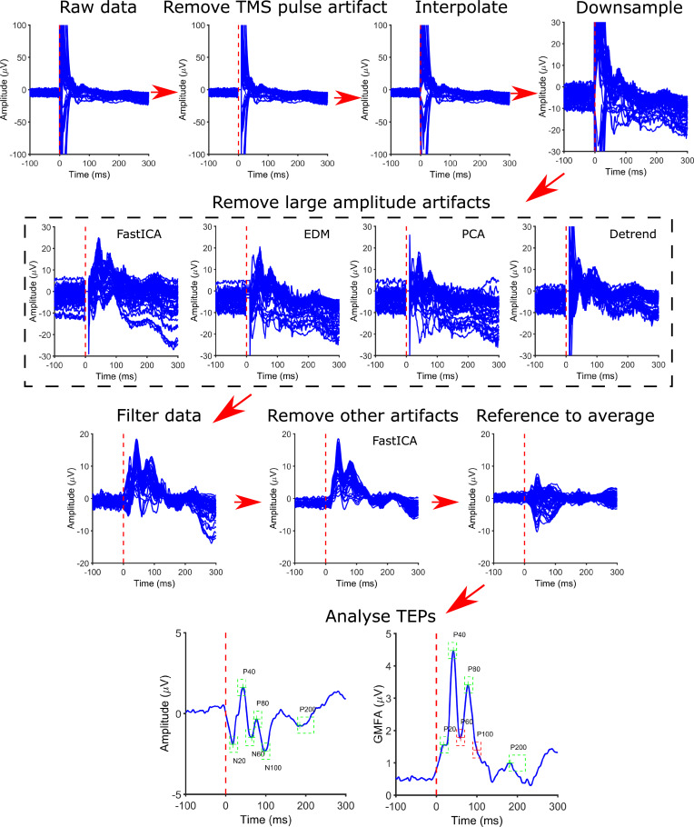 Analysing concurrent transcranial magnetic stimulation and