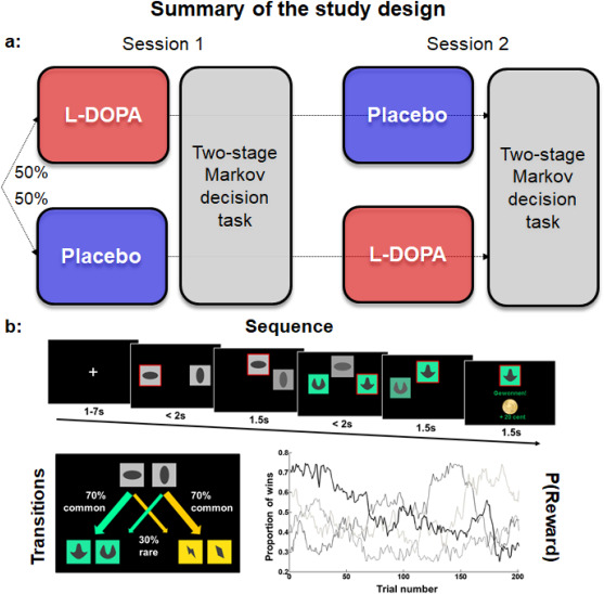 L-DOPA reduces model-free control of behavior by attenuating