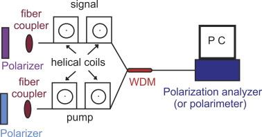 Use of fiber helical coils to obtain polarization