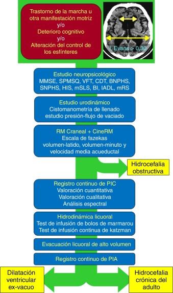Imágenes de diagnóstico de hidrocefalia a presión normal