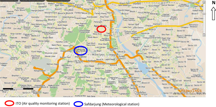 figure 1 map of delhi with air pollution monitoring ito and meteorological safdarjung airport stations