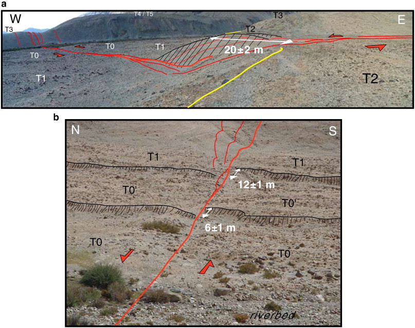 California Map Fault Lines%0A  a  View  looking northwest  from T      m offset of T  T  riser is  outlined   b  View  looking east  along the fault trace from