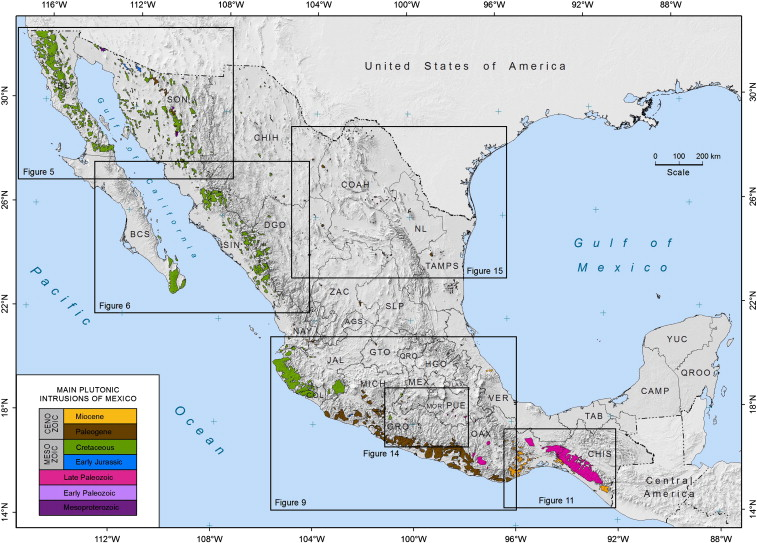 general distribution map of plutonic intrusions in mexico with the outcrop areas taken mainly from the geologic map of mexico ortega gutirrez et al