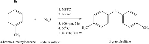 Sonication effect on the reaction of 4-bromo-1-methylbenzene with