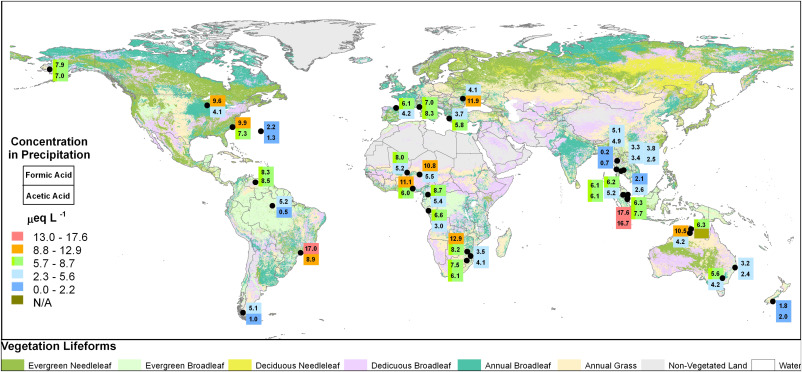 Precipitation World Map.A Global Assessment Of Precipitation Chemistry And Deposition Of