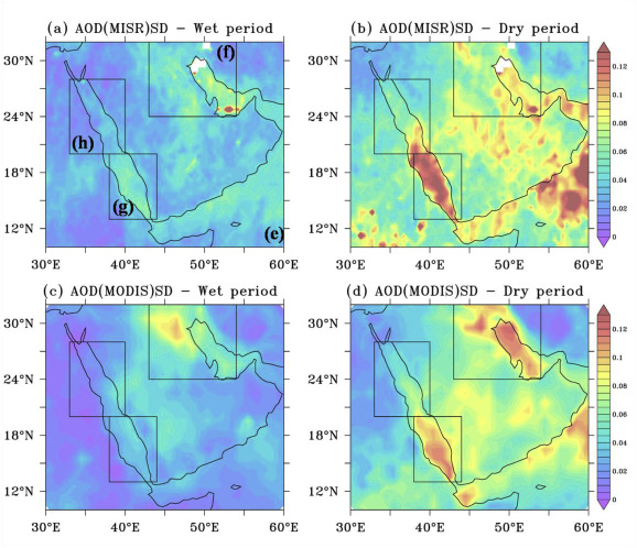Aerosol Optical Depth variability over the Arabian Peninsula as