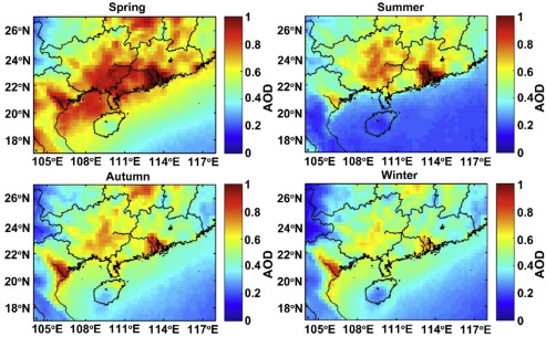 Spatial distribution and temporal variation of aerosol optical depth