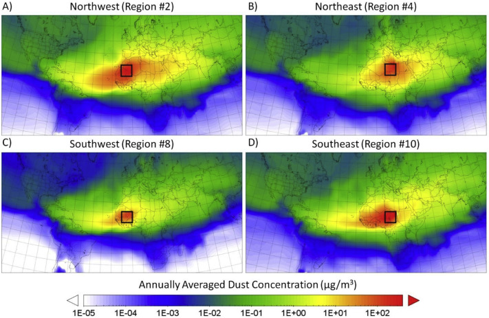 Global transport of dust emitted from different regions of the