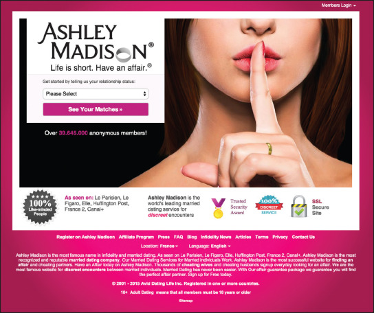 The Ashley Madison home page – still boasting of its security and  confidentiality.