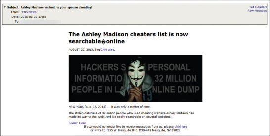 A spam campaign exploiting the Ashley Madison leak. Source: AppRiver.