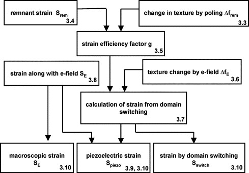Estimation of strain from piezoelectric effect and domain switching