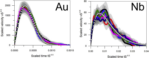 Shapes and velocity relaxation of dislocation avalanches in Au and