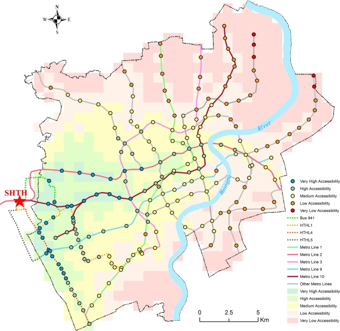 Mapping spatial accessibility of public transportation