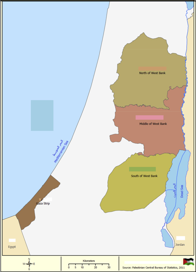 Gaza strip and the west bank are