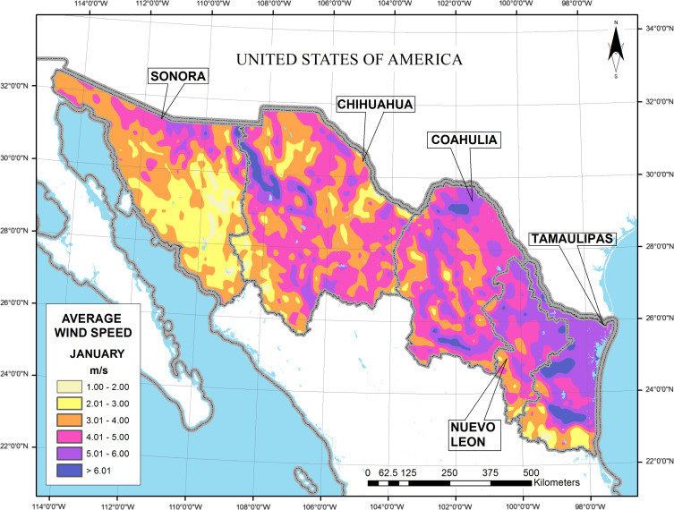 Wind energy resource in northern mexico sciencedirect january average wind resource map publicscrutiny Images