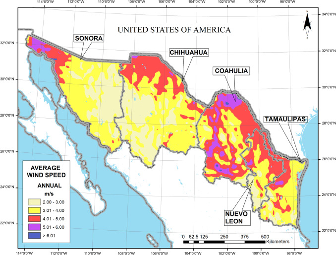 annual average wind resource map