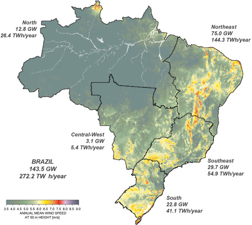 Development Of The Wind Power In Brazil Political Social And - Brazil political map