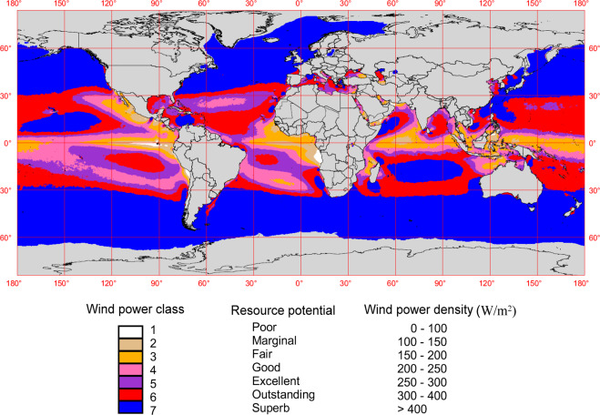 An overview of global ocean wind energy resource evaluations