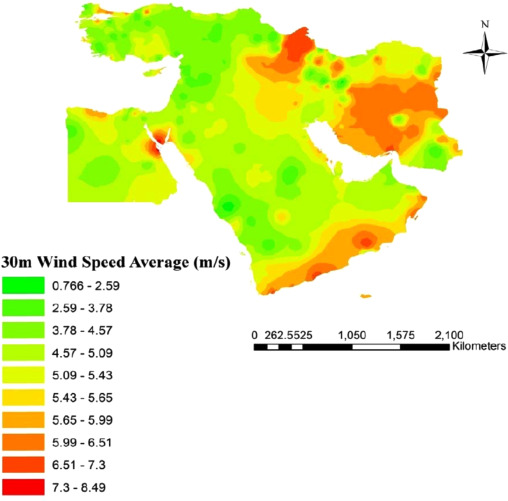 Finding The Best Locations For Establishment Of Solarwind Power - Us average wind speed map