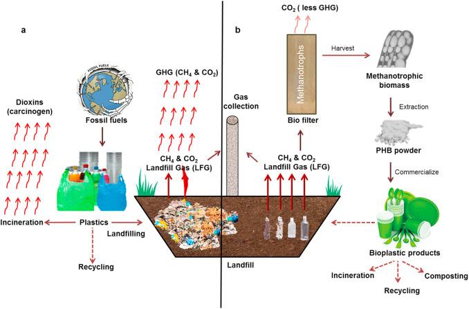 Sustainable bio-plastic production through landfill methane
