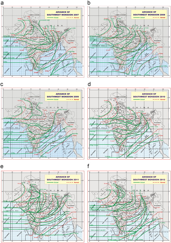 Onset advance and withdrawal of southwest monsoon over Indian