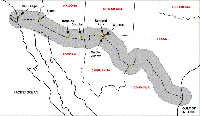 Neural Network Prediction Model For Fine Particulate Matter PM - Us mexico border map with length