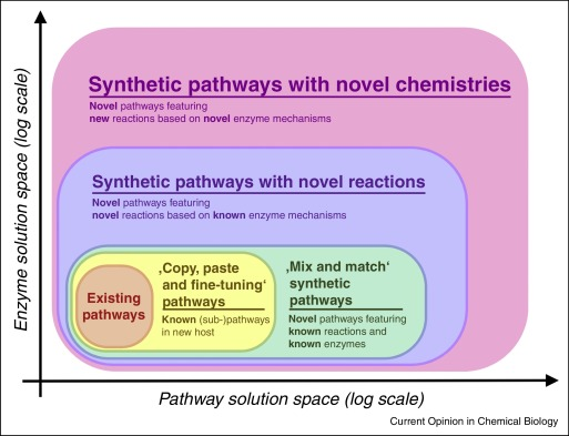 Different levels of metabolic engineering and their respective chemical spaces. We move from just using established pathways (lvl 1) to tinkering existing pathways (lvl2) to combining existing pathways from different organisms (lvl3) to engineering enzymes to catalyse new reaction (lvl4) to engineering enzymes to catalyse new reactions with new reaction mechanisms (lvl5).