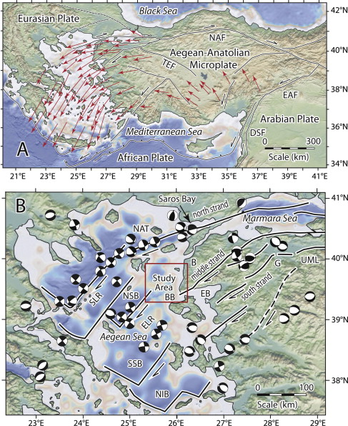 a gps vectors relative to a fixed eurasian plate showing the counterclockwise rotation of the aegeananatolian microplate reilinger et al 1997