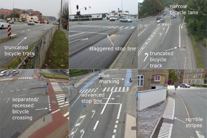 Comparison of five bicycle facility designs in signalized