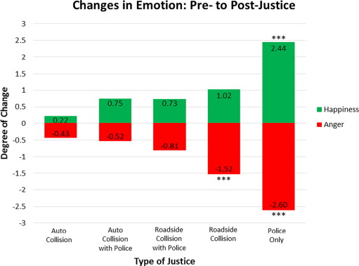 The influence of roadway police justice on driver emotion