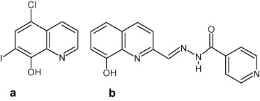 Structures Of A Clioquinol 5 Chloro 7 Iodo 8 Hydroxyquinoline And B INHHQ 2 Carboxaldehyde Isonicotinoyl Hydrazone