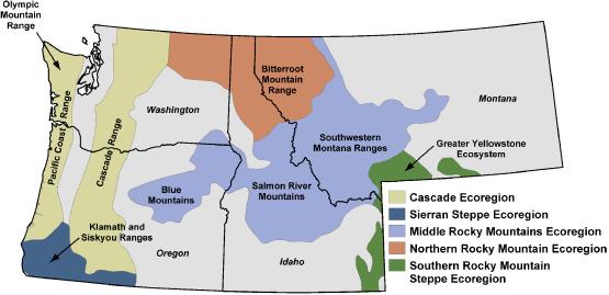 Natural And Landuse History Of The Northwest Mountain Ecoregions - Olympics mountain range map of us
