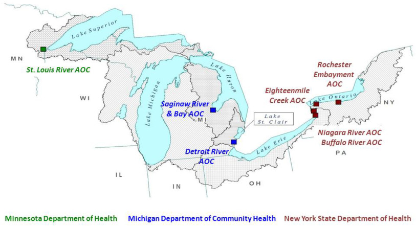 Biomonitoring programs in Michigan, Minnesota and New York to assess