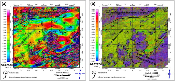 mapping of volcanic rocks from a fvd rte tmi anomaly map and b svd rte tmi anomaly map of the area