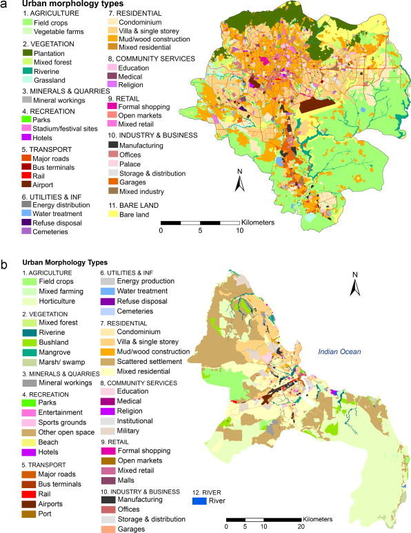 Urban Morphology Types For The Case Study Cities A Addis Ababa And B Dar Es Salaam
