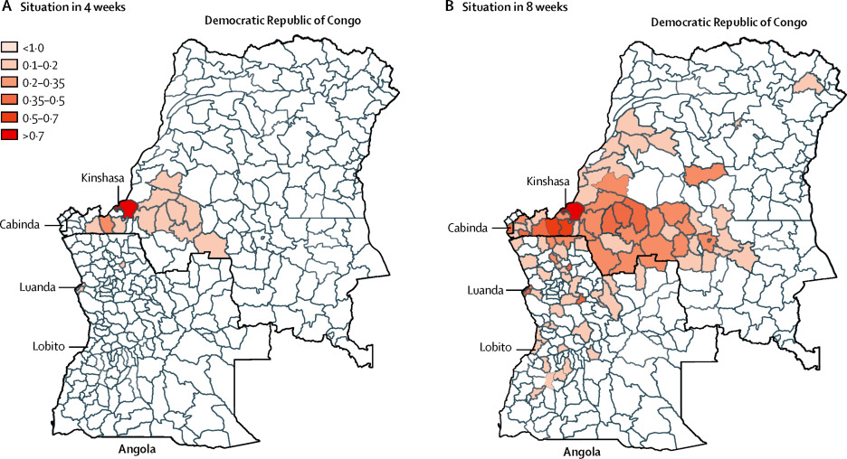 Spread of yellow fever virus outbreak in Angola and the Democratic