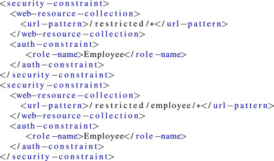 Model-based analysis of Java EE web security misconfigurations