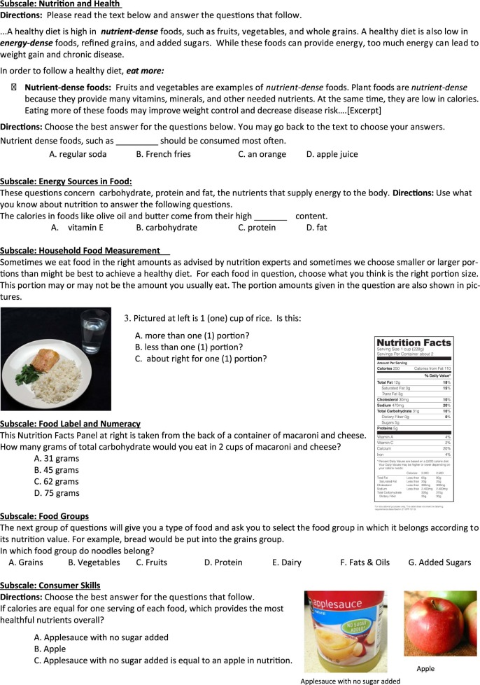 The Nutrition Literacy Assessment Instrument is a Valid and