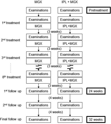 Therapeutic efficacy of intense pulsed light in patients
