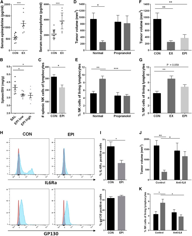 IL-6-Sensitive NK Cells Are Mobilized through β-Adrenergic Signaling(A) Serum ...