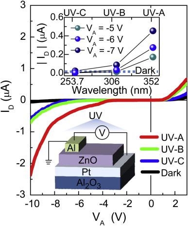 Dependence of photocurrent on UV wavelength in ZnO/Pt bottom-contact ...