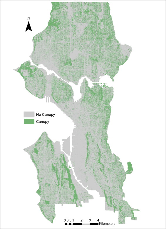 Visualization of canopy cover pattern in Seattle derived from a categorical raster of land use/land cover. Pixels are 1 m2.  sc 1 st  Science Direct & Uncertainty in urban forest canopy assessment: Lessons from ...