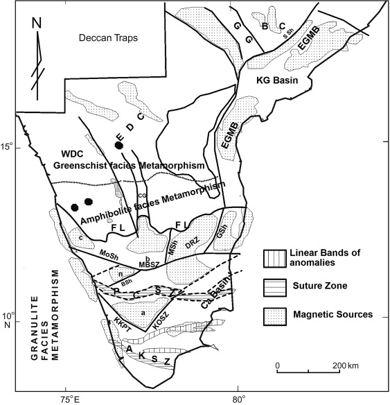 Aeromagnetic signatures of Precambrian shield and suture