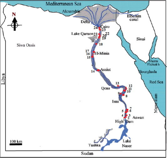 Indices Of Water Quality And Metal Pollution Of Nile River Egypt - Map of egypt showing nile river