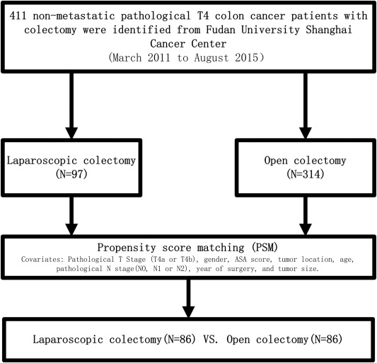 Reevaluation Of Laparoscopic Surgery S Value In Pathological T4 Colon Cancer With Comparison To Open Surgery A Retrospective And Propensity Score Matched Study Sciencedirect