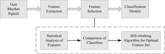 Classification of gait rhythm signals between patients with