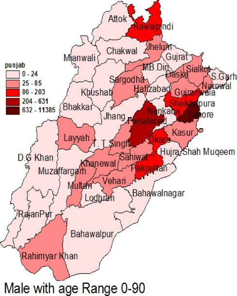 Surveillance of intensity level and geographical spreading